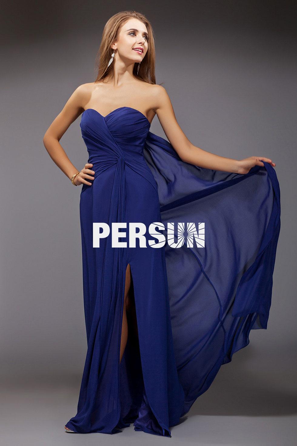 robe bleu royale de soirée simple en mousseline