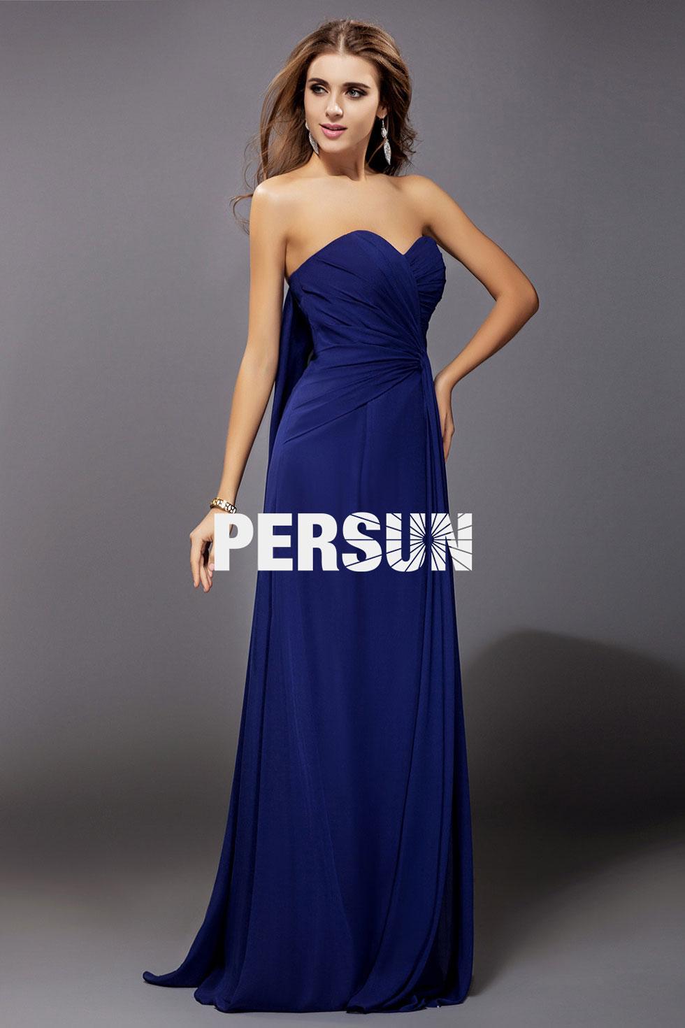 allure robe bleu longue mousseline à bustier cœur pour soirée