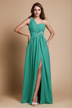 One Shoulder Draping Split Chiffon Green Long Dress For Prom