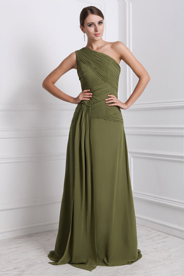 Ruched A-line One Shoulder Chiffon Long Green Bridesmaid Dress