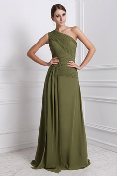 Elegant Ruched A line One Shoulder Chiffon Long Formal Bridesmaid Dress