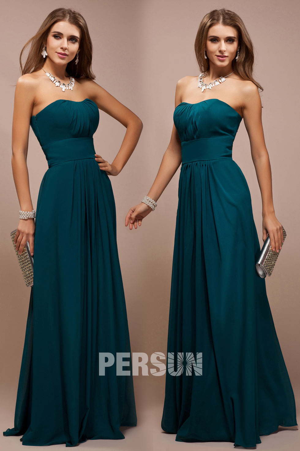 long strapless ruched chiffon a line bridesmaid dress