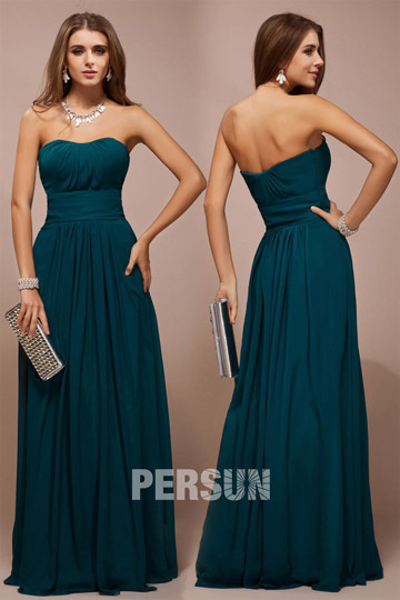 Strapless Ruched Empire Chiffon A-line Long Green Bridesmaid Dress