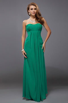 Ruched Strapless Empire A line Chiffon Long Formal Bridesmaid Dress