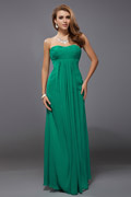 Ruched Strapless Empire A-line Chiffon Long Green Bridesmaid Dress