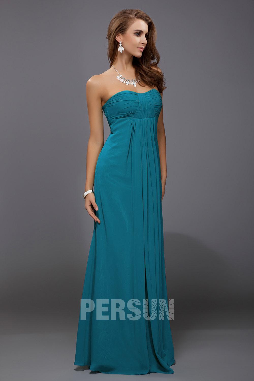 Chic robe verte empire longue pliss e bustier coeur pour for Robes vertes pour les mariages