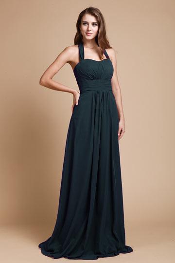 Simple Ruched Halter Empire Chiffon Long Purple Bridesmaid Dress