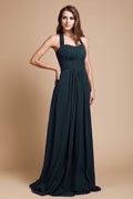 Simple Ruched Halter Empire Chiffon Long Purple Bridesmaid Dress