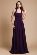 Simple Ruched Halter Empire A line Chiffon Long Formal Bridesmaid Dress