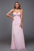 Rose robe simple en mousseline sans bretelle bustier cœur