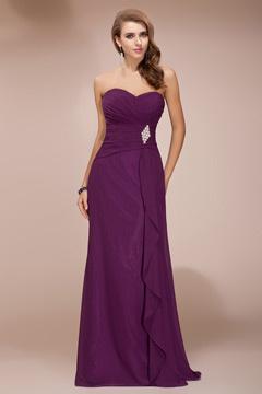 Noble Ruched Ruffles Empire A line Chiffon Long Formal Bridesmaid Dress