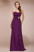 Noble Ruched Ruffles Empire Chiffon Long Purple Bridesmaid Dress