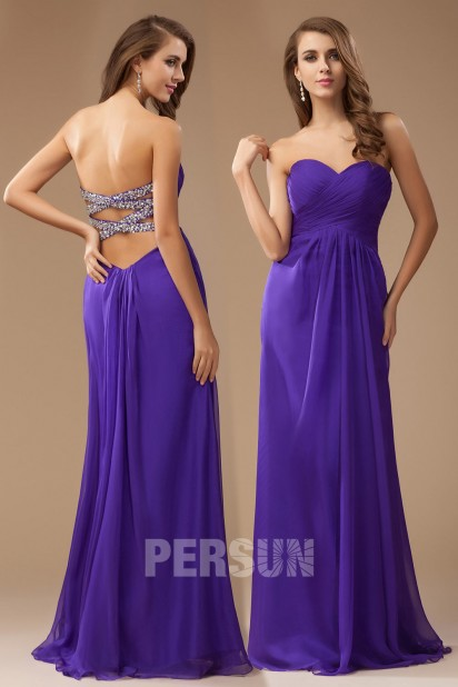 Sexy Backless Ruched Empire A-line Long Bridesmaid Dress