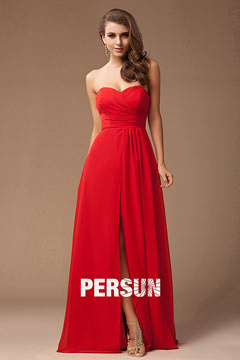 Simple Strapless Floor Length Split Red Holiday Dress