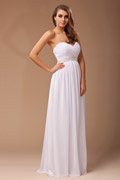 Noble Ruched Beading Chiffon A line Long Formal Bridesmaid Dress
