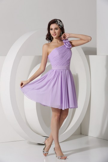 Dressesmall Pretty Ruched One Shoulder Handmade Flower Chiffon A line Short Bridesmaid Dress