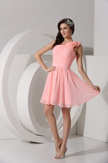 Ruched One Shoulder Chiffon A-line Short Bridesmaid Dress