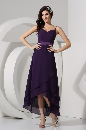 Dressesmall Spaghetti Straps Sweetheart High low Tea Length Chiffon Formal Bridesmaid Dress