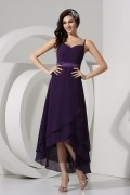 Spaghetti Straps Sweetheart High low Tea Length Chiffon Formal Bridesmaid Dress