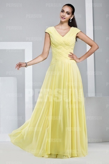 Dressesmall Simple Yellow V Neck Chiffon Floor Length Formal Dress