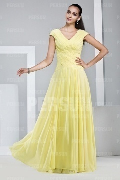 Simple Yellow V Neck Chiffon Floor Length Formal Dress