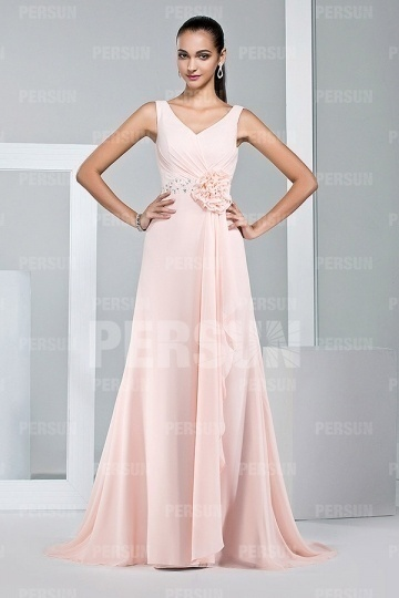 Dressesmall Elegant Pink Strap Ruffles Chiffon Floor Length Formal Dress