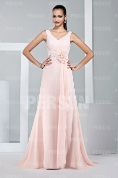 Beautiful Flower V neck Sleeveless Floor Length Pink Prom Dress