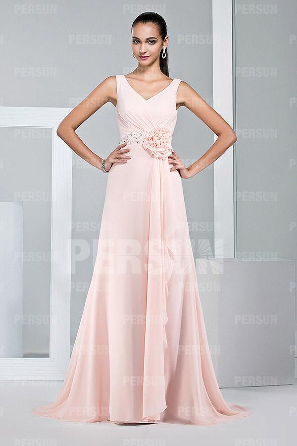 robe balayage rose empire avec fleur fait main pour mariage. Black Bedroom Furniture Sets. Home Design Ideas
