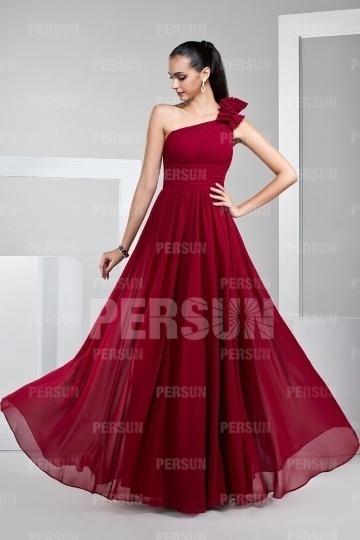 Dressesmall One Shoulder Zipper Red Tone Chiffon Full Length Prom Dress