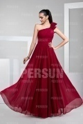 One Shoulder Zipper Red Tone Chiffon Full Length Prom Dress