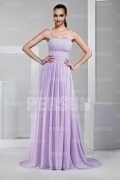 Beautiful Spaghetti Straps Purple Brush Train Floor Length Prom Dress