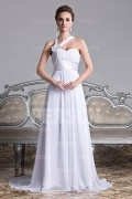 Gorgeous One Shoulder Court Train White Long Formal Dress