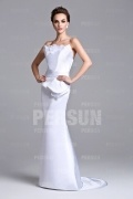 Chic White Mermaid Sweep Train Satin Floor Long Formal Dress