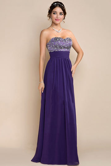 Dressesmall Elegant Strapless Beadings Purple Chiffon Floor Length Formal Dress