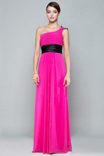 Modern One Shoulder Chiffon Long Bridesmaid Dress