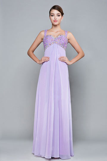 Dressesmall Sexy Strap Sequins Purple Tone Beading Floor Length Formal Dress