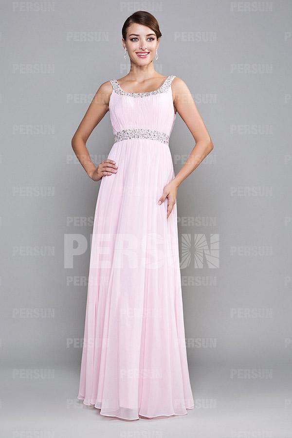 Robe de demoiselle d'honneur rose longue avec bretelle