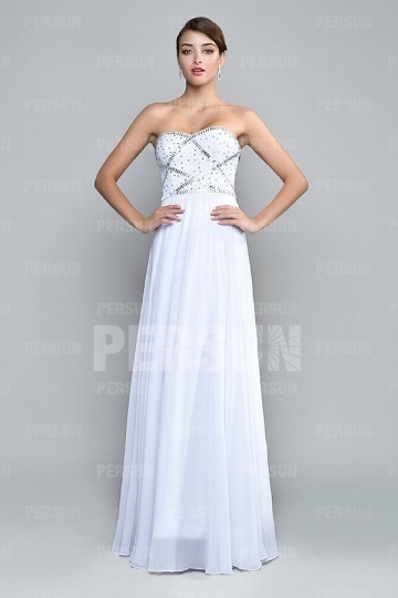 Dressesmall Chic Strapless Beading Chiffon White Floor Length Formal Dress