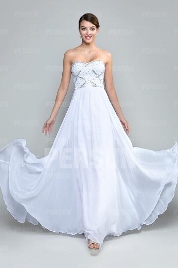 Dressesmall Chic Strapless Beading Chiffon White Floor Length Formal Dress