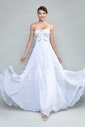 Chic Strapless Beading Chiffon White Floor Length Formal Dress