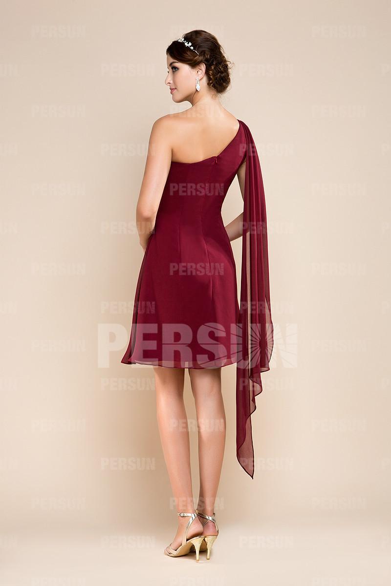 robe demoiselle d 39 honneur rouge courte style empire et. Black Bedroom Furniture Sets. Home Design Ideas