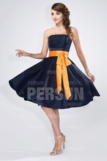 Chic Orange Sash Blue Tone Short Bridesmaid Dress