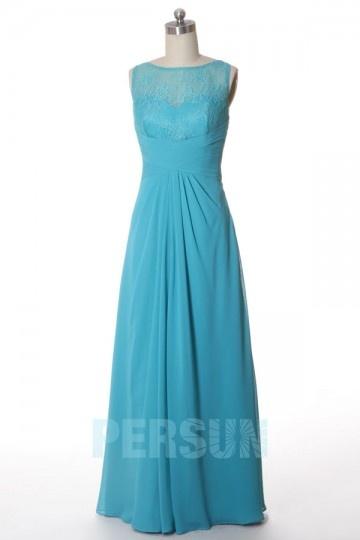 Unique Scoop Long A Line Chiffon Bridesmaid Dress