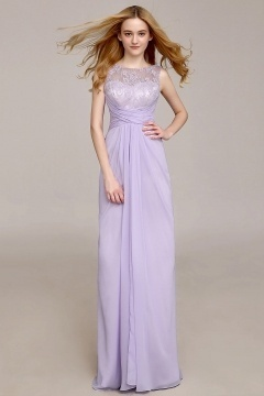 Chic Scoop Long A Line Lace Formal Bridesmaid Dress