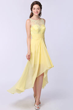 New Long Yellow Bateau High Low Lace Formal Bridesmaid Dress