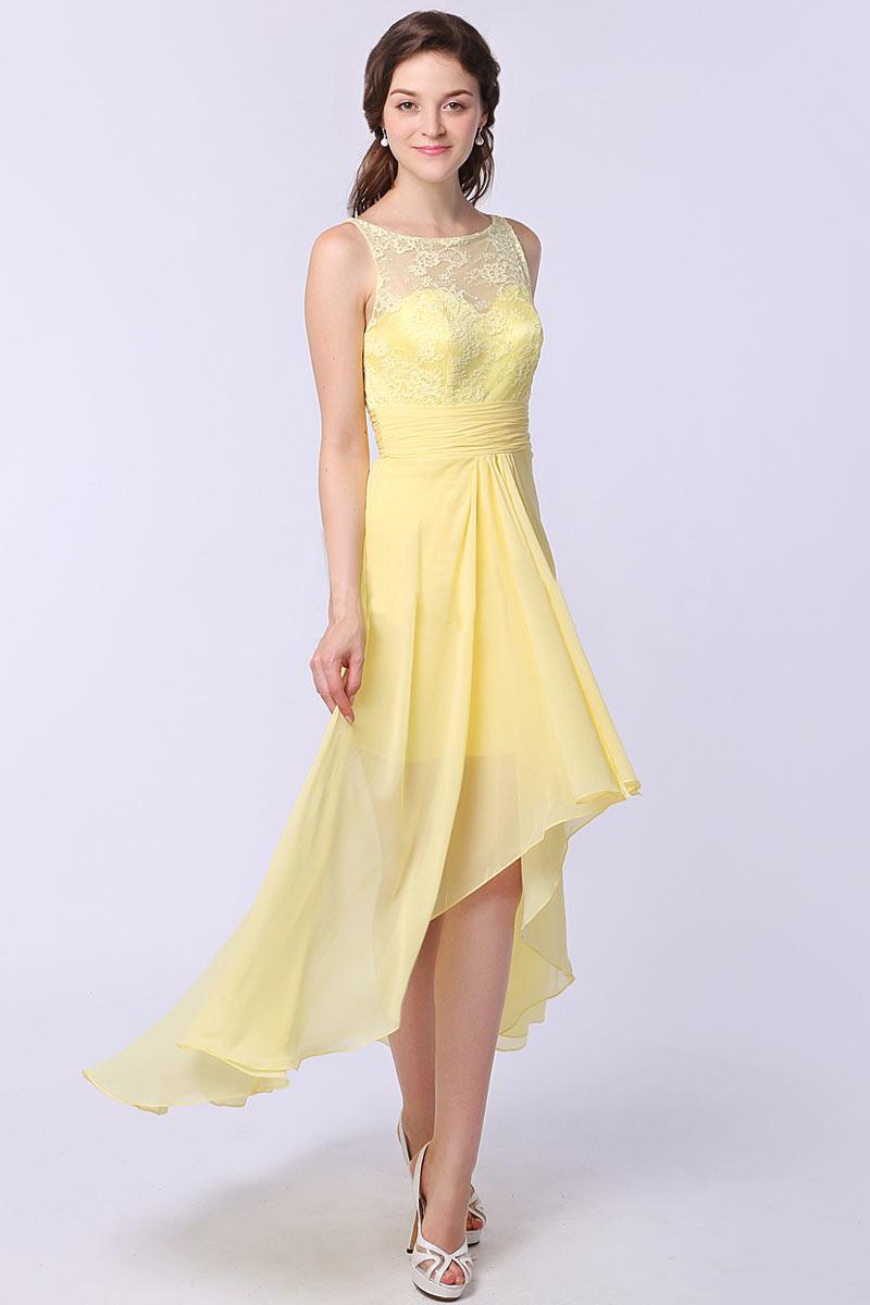 Boot-Ausschnitt Vorne Kurz Hinten Lang A-Linie gelb Abendkleid