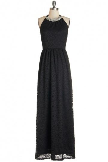 Elegantes schwarzes Bodenlanges A-Linie Abendkleider aus Spitze Persun