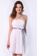 Chic White A Line Strapless Short Sleeved Lace Formal Bridesmaid Dress