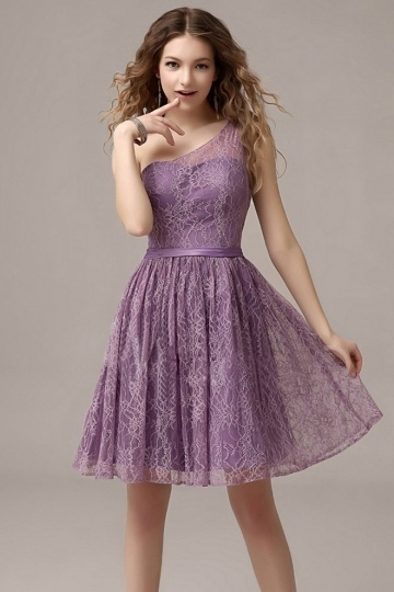 Dressesmall Elegant Purple One Shoulder Knee Length Lace Formal Bridesmaid Dress