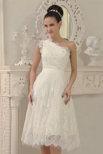 Elegant Ivory One Shoulder A Line Short Lace Wedding Dress